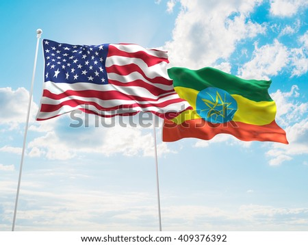 3D illustration of United States of America & Ethiopia Flags are waving in the sky - stock photo
