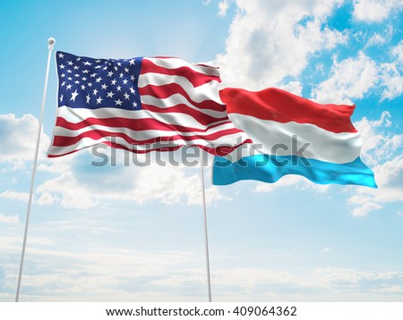 3D illustration of United States of America & Luxembourg Flags are waving in the sky
