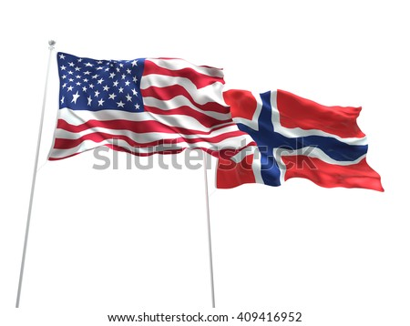 3D illustration of United States of America & Norway Flags are waving on the isolated white background - stock photo