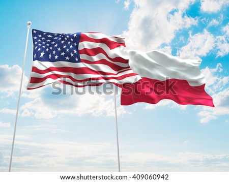 3D illustration of United States of America & Poland Flags are waving in the sky - stock photo