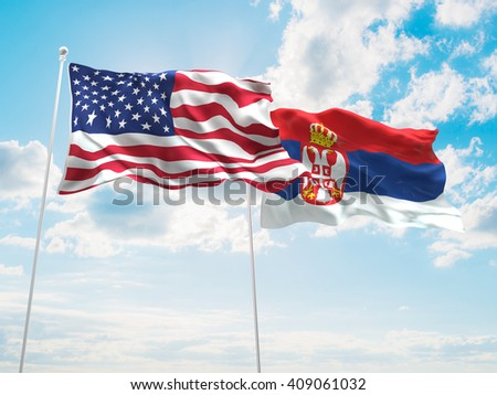 3D illustration of United States of America & Serbia Flags are waving in the sky