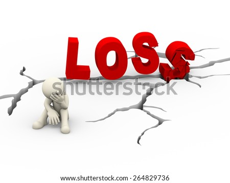 3d illustration of upset sad man sitting near cracked destroyed word loss over cracked dearth ground. 3d white person people man