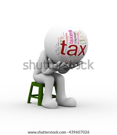 3d illustration of upset sad person wordcloud head sitting on stool. - stock photo