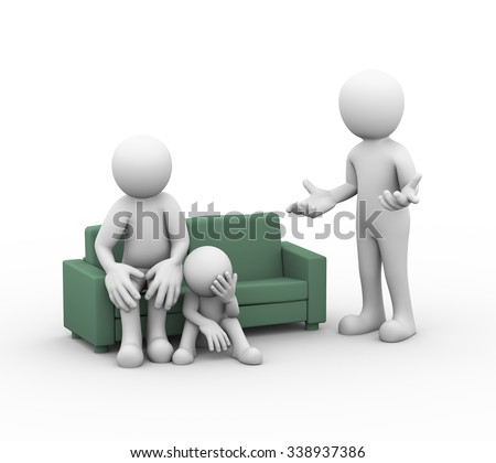 3d illustration of upset wife on sofa along with child and husband arguing. family problem, people conflict and dispute