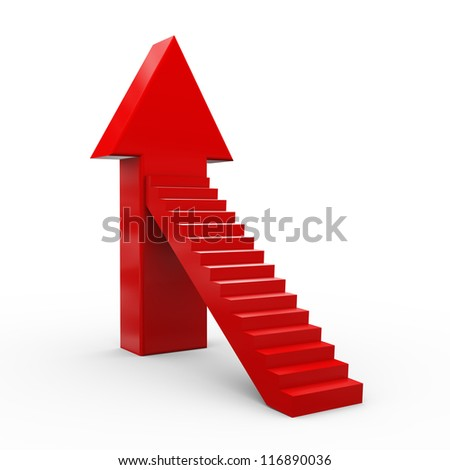 3d illustration of upward stair arrow. - stock photo