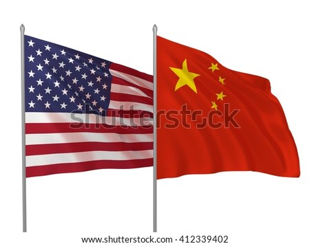 3d illustration of USA and China flags waving in the wind \ Flags of countries - stock photo