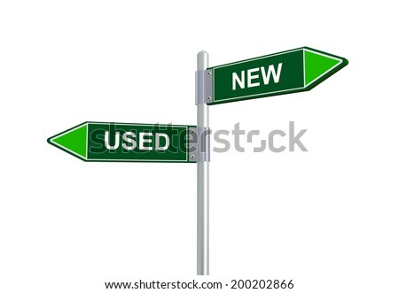 3d illustration of used and new road sign - stock photo