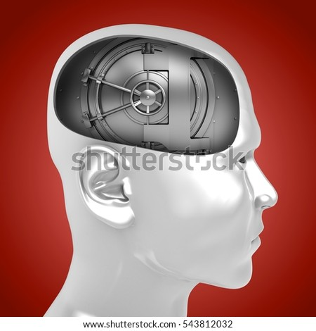 3d illustration of vault door inside man head over red background
