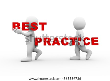 3d illustration of walking people carrying word text best practice on their shoulder.  3d rendering of man people character - stock photo