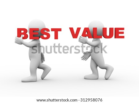 3d illustration of walking people carrying word text best value on their shoulder.  3d rendering of man people character. - stock photo