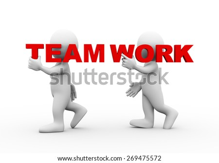 3d illustration of walking people carrying word text team work on their shoulder.  3d rendering of man people character - stock photo