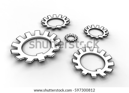 3d illustration of washers on white background