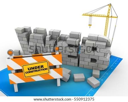 3 d illustration web development over blueprint stock illustration 3d illustration of web development over blueprint background with crane malvernweather Images