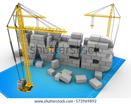 3d illustration web development over blueprint stock illustration 3d illustration of web development over blueprint background with cranes malvernweather Gallery