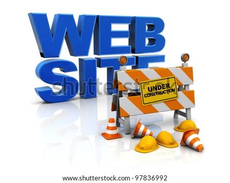 3d illustration of web site construction concept - stock photo