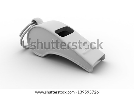 3d illustration of whistle over white background - stock photo