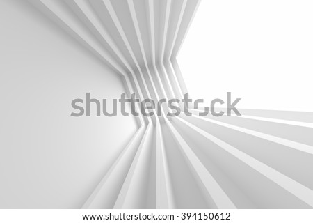 3d Illustration of White Building Construction. Abstract Architecture Background - stock photo