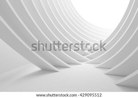 3d Illustration of White Column Interior. Abstract Architecture Background. Modern Building Construction - stock photo