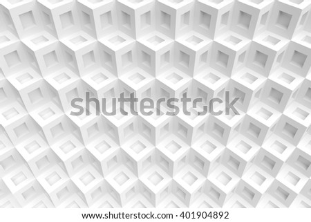 3d Illustration of White Cubes Background. Abstract Futuristic Design - stock photo