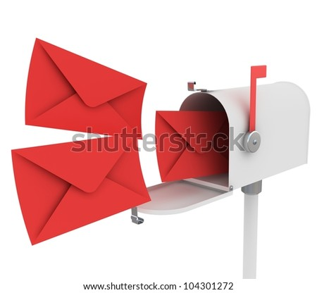 3d illustration of white mailbox with letters, isolated over white background - stock photo