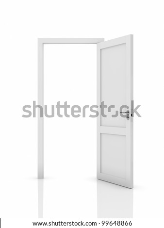 3d illustration of white opened door. Isolated on white background