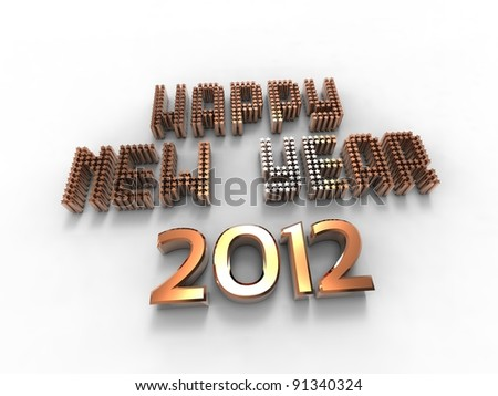 3d illustration of words to wish the new golden year - stock photo