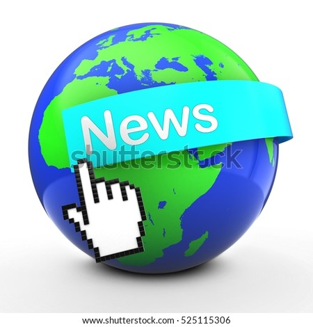 3d illustration of world globe over white  with news text on light blue banner