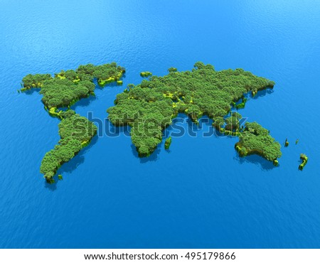 3d illustration of world map with trees