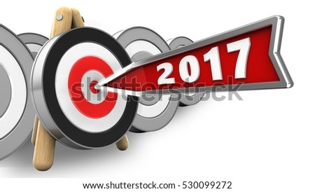 3d illustration of 2017 year arrow with archery target stand over white with targets background