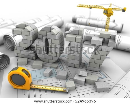 3d illustration of 2017 year construction over drawing rolls background with crane