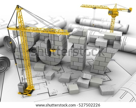 3d illustration of 2017 year construction over house plan background with crane