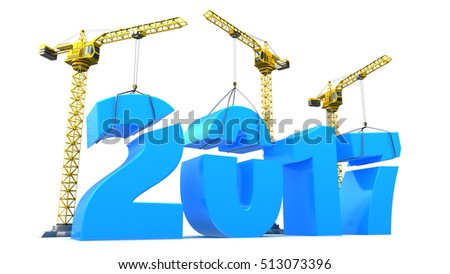 3d illustration of 2017 year construction over white background