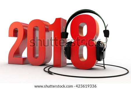 3D illustration of Year 2018 with headphones