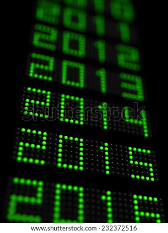 3d illustration of years timeline with 2015 new year in focus - stock photo