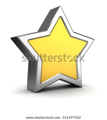 3d illustration of yellow and steel star over white background - stock photo