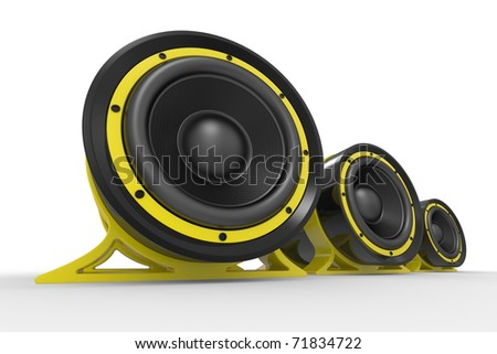 3d illustration of yellow audio speaker on white background - stock photo