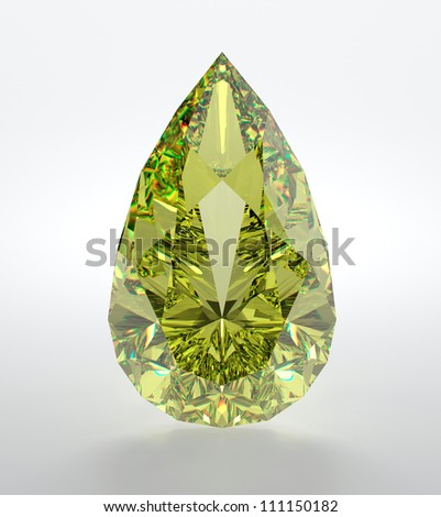 3D illustration of yellow diamond isolated on white background - stock photo