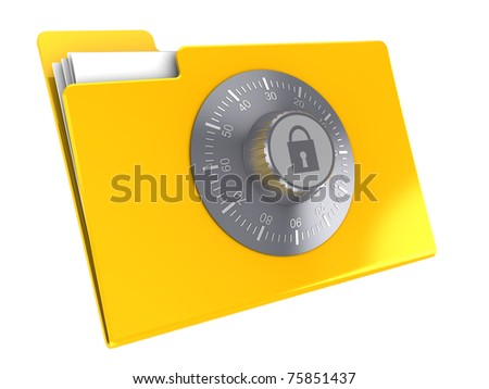 3d illustration of yellow folder icon protected by combination lock