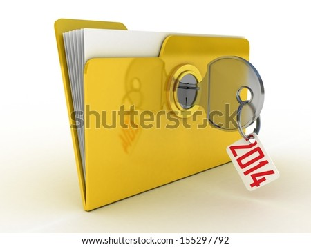 3d illustration of yellow folder locked with key,isolated over white. - stock photo