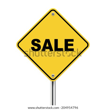 3d illustration of yellow road sign of sale isolated on white background - stock photo