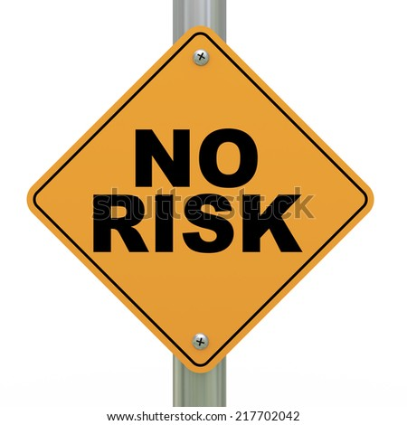 3d illustration of yellow roadsign of no risk - stock photo