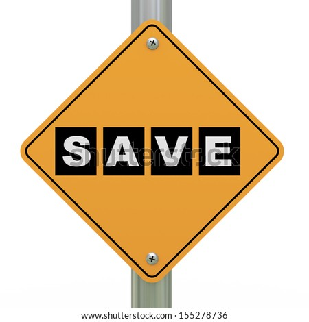 3d illustration of yellow roadsign of save - stock photo