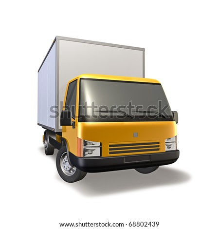3d Illustration of yellow small truck