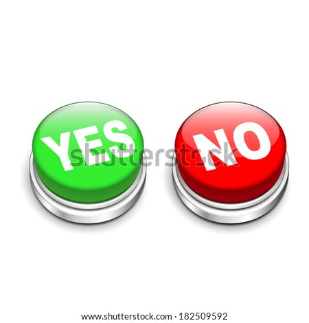3d illustration of yes and no buttons isolated white background - stock photo