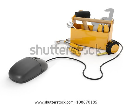 3d illustration: Online tools, technical support. Mouse and a group of tools on white background, isolated