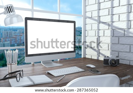 3D illustration PC screen on table in office, Workspace - stock photo
