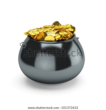 3d illustration pot of gold isolated on a white background - stock photo