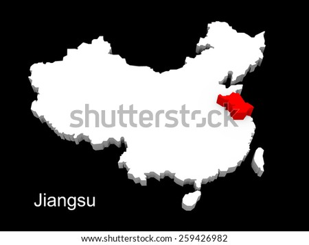 3d illustration province of china,focus on jiangsu