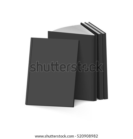 3D Illustration. Raster version. Stack of Blank Black Books on White Background. Mockup Template