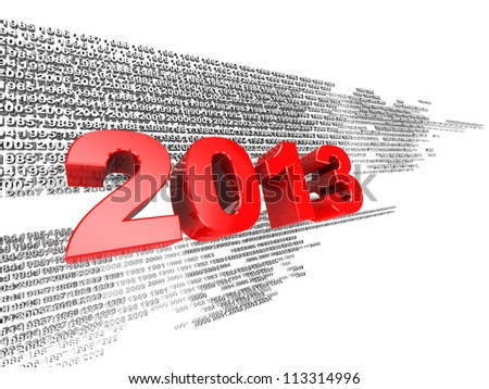 3d illustration, red 2013 on the background of grey numbers - stock photo